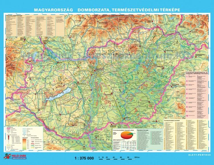magyarország domborzati térkép letöltés Magyarország domborzata és természetvédelmi térképe, hátoldalán MO  magyarország domborzati térkép letöltés