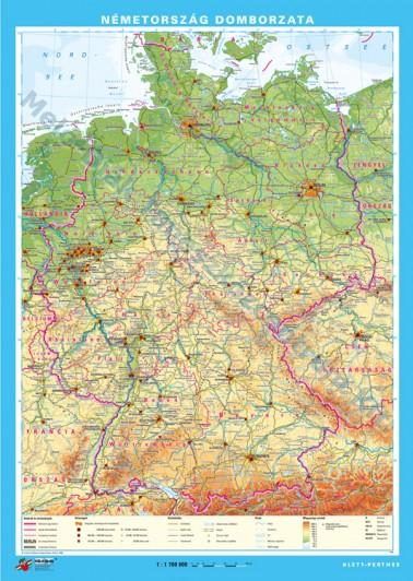 németország domborzati térkép Németország domborzata   hátoldalán: Németország tartományai  németország domborzati térkép