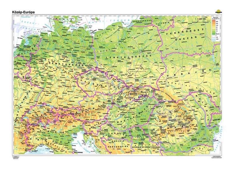közép európa domborzati térkép Közép Európa, domborzata (az új határokkal) + vaktérkép DUO   Meló  közép európa domborzati térkép
